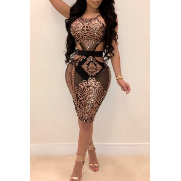LovelySexy Round Neck Hollow-out Sequins Decoration Rose Gold Polyester Knee Length Dress