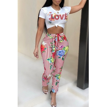 Lovely Euramerican Round Neck Striped Floral Printed Red Polyester Two-Piece Pants Set