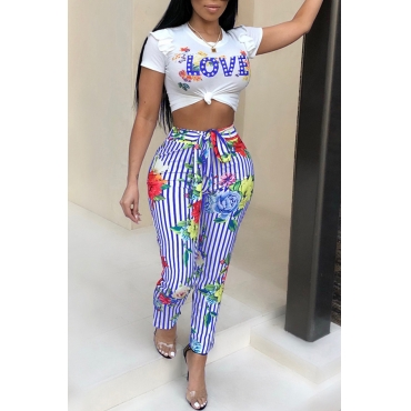 Lovely Euramerican Round Neck Striped Floral Printed Blue Polyester Two-Piece Pants Set