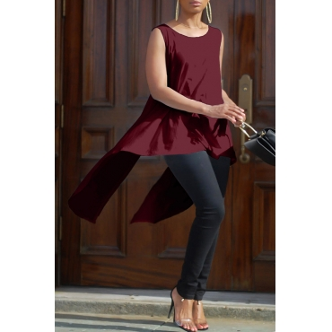 Lovely Stylish Round Neck Lace-up Irregular Design Wine Red Cotton Blends Shirts