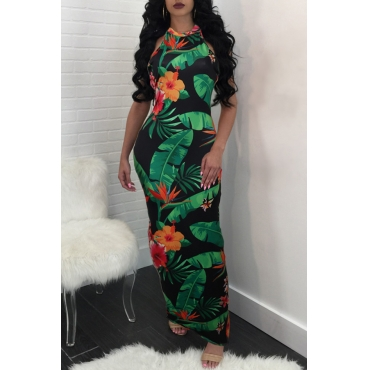 Lovely Fashion Round Neck Printed Green Cotton Blend Ankle Length Dress
