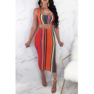 Lovely Casual U Neck Striped Orange Qmilch Two-piece Skirt Set