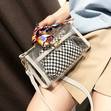 Lovely Vintage Plaid Printed White PU Clutches Bags