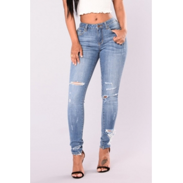 Lovely Trendy Mid Waist Broken Holes Baby Blue Denim Zipped Jeans