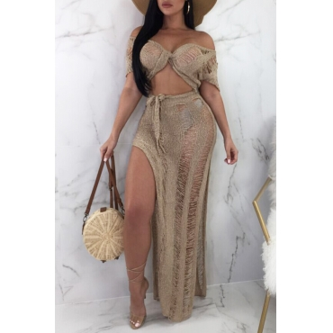 Lovely Casual V Neck Hollow-out Side Slit Brown Cotton Two-piece Skirt Set