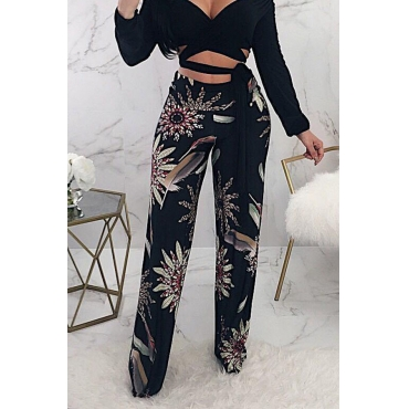 Lovely Trendy Mid Waist Floral Printed Black Polyester Zipped Pants