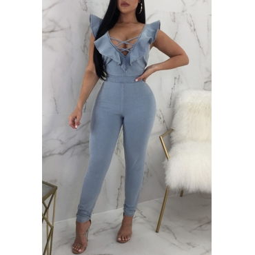 Lovely Euramerican V Neck Flounce Hollow-out Baby Blue Denim One-piece Jumpsuits