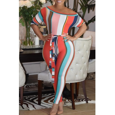 Lovely Sexy Bateau Neck Striped Red Cotton Blends One-piece Jumpsuits(With Belt)