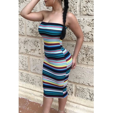 Lovely Sexy Bateau Neck Striped Printed Twilled Satin Mid Calf Dress