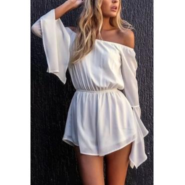Lovely Stylish Bateau Neck Mandarin Sleeves White Polyester One-piece Jumpsuits