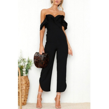 Lovely Sexy Strapless Backless Black Polyester One-piece Jumpsuits