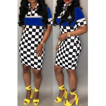 Lovely Trendy Turndown Collar Grid Printed Blue Milk Fiber Mini Dress