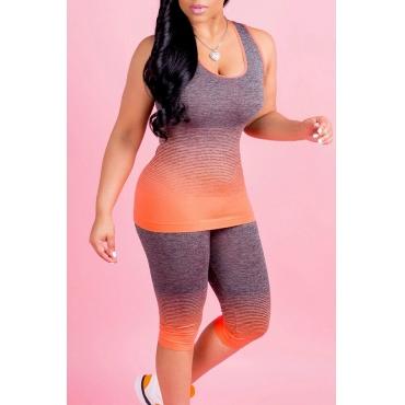 Bel Paio Di Pantaloni A Due Pezzi In Poliestere Arancione Con Stampa Sfumatura A U