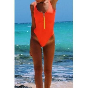 Lovely Fashion U Neck Zipper Design Orange Nylon One-piece Swimwears