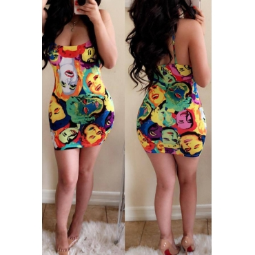 Lovely Sexy U Neck Cartoon Characters Printed Milk Fiber Sheath Mini Dress