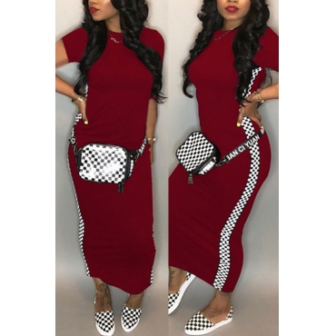 Lovely Fashion Round Neck Grid Printed Wine Red Blending Ankle Length Dress