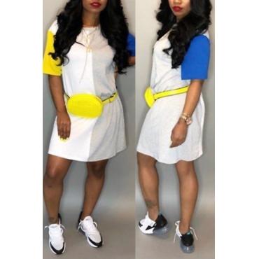 Lovely Leisure Round Neck Patchwork Yellow Blending Mini Dress