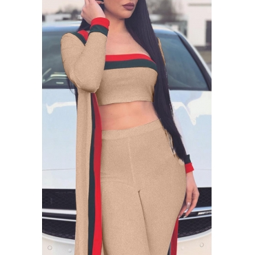 Lovely Fashion Bateau Neck Striped Khaki Polyester Two-piece Pants Set(With Coat)