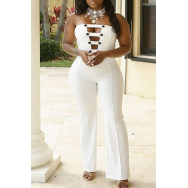 Lovely Elegant Bateau Neck Buttons White Polyester One-piece Jumpsuits