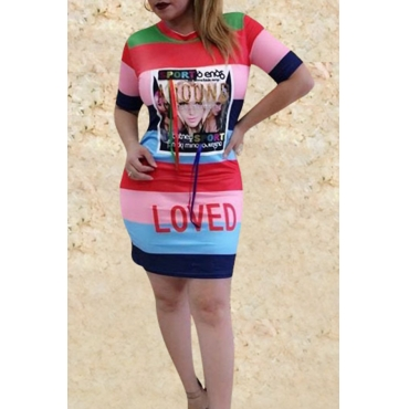 Lovely Casual Round Neck Portrait Printed Patchwork Red Cotton Blend Mini Dress