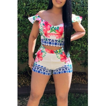 Lovely Pretty V Neck Floral Printed Qmilch Two-piece Shorts Set