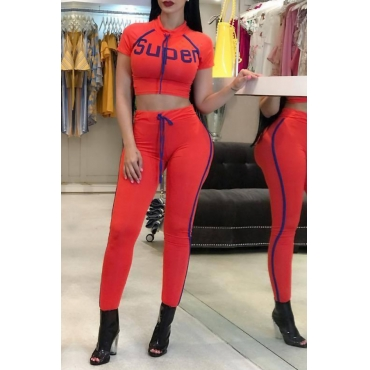 Lovely Casual Round Neck Letters Printed Drawstring Red Blending Two-piece Pants Set