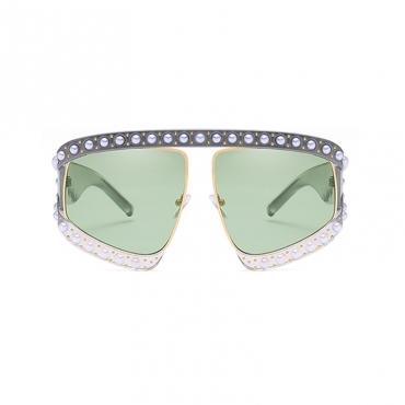 Lovely Fashion Pearl Trim Big Frame Design Green PC Sunglasses