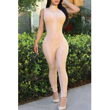 Lovely Sexy Turtleneck Diamante Decorative Net Yarn Splicing Apricot Polyester One-piece Jumpsuits