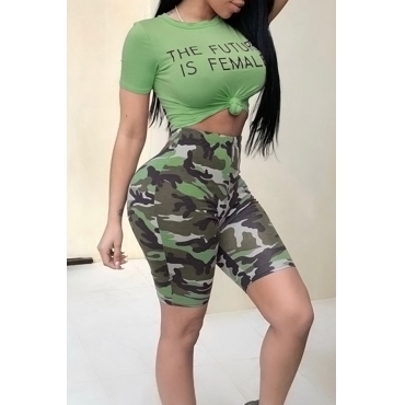 Lovely Casual Round Neck Letters Printed Green Qmilch Two-piece Shorts Set