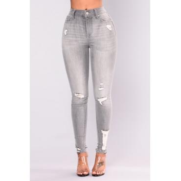 Lovely Fashion Mid Waist Broken Holes Light Grey Denim Zipped Jeans