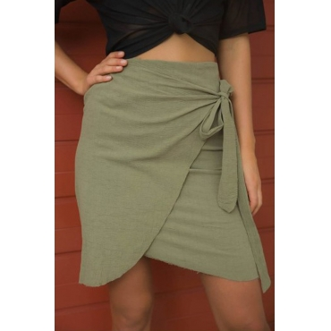 Lovely Trendy Hight Waist Lace-up Army Green Blending Mini Skirts