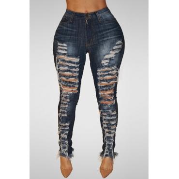Lovely Trendy High Waist Broken Holes Dark Blue Denim Jeans