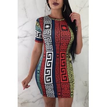 Lovely Fashion Round Neck Printing Red Healthy Fabric Sheath Mini Dress