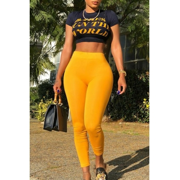 Lovely Casual Round Neck Letters Printed Yellow Blending Two-piece Pants Set