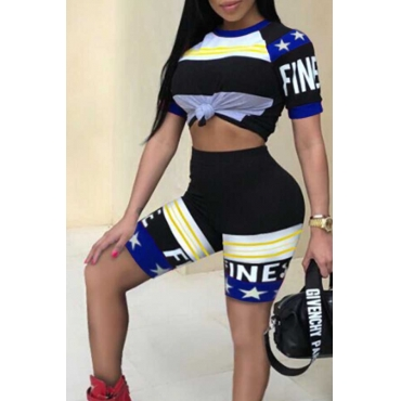 LovelyStylish Round Neck Letters Printed Blue Twilled Satin Two-piece Shorts Set