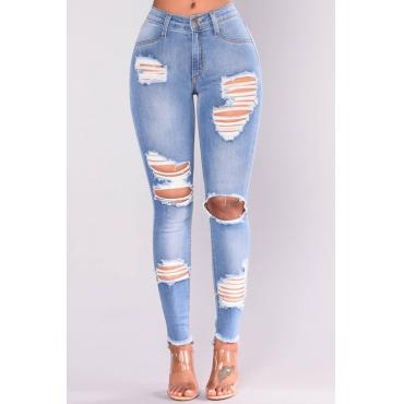 Lovely denim Solid Zipper Fly Mid Regular Pants Jeans