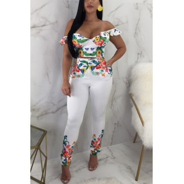 Lovely White Twilled Satin Pants Print V Neck Short Sleeve Sexy Two Pieces