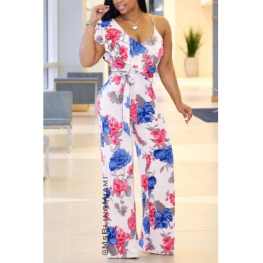 Lovely Cotton Floral Straight Jumpsuits