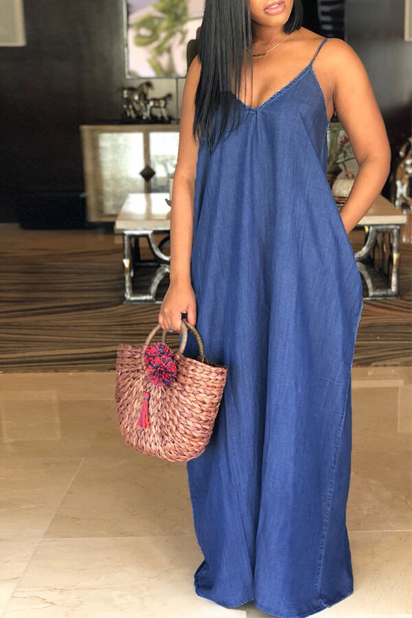 LW Lovelywholesale Stylish V Neck Deep Blue Denim Floor Length Dress