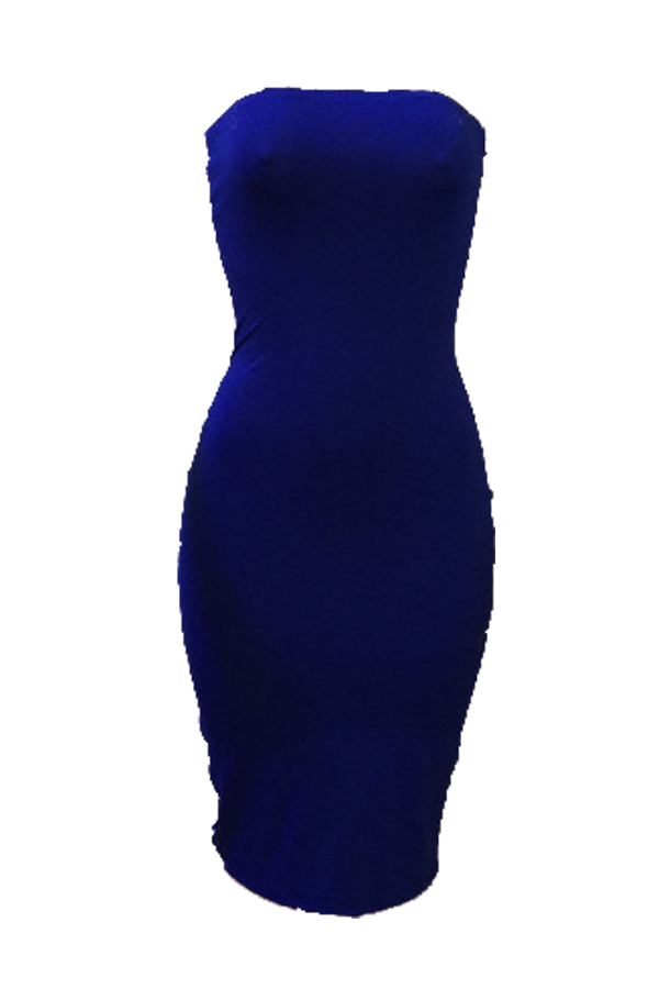Lovely Sexy Bateau Neck Striped Blue Milk Fiber Sheath Mid Calf Dress