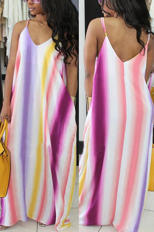 LovelyCasual V Neck Striped Printed Purple Cotton Blend Floor Length Dress