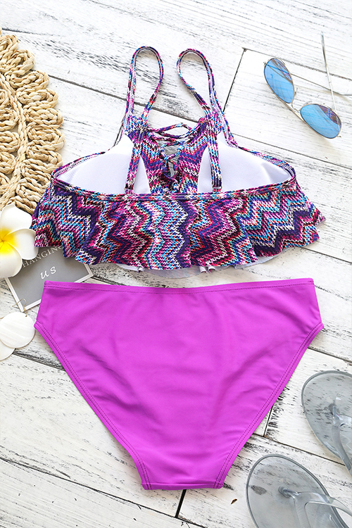 Lovely Pretty Lace-up Printing Purple Polyester Two-piece Swimwears