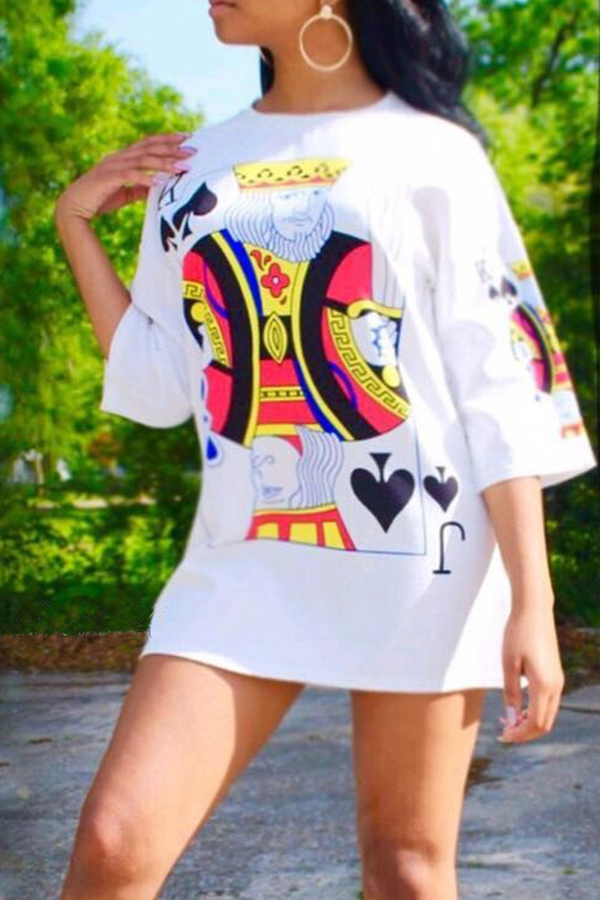 Lovely Euramerican Round Neck Printed White Polyester Mini Dress