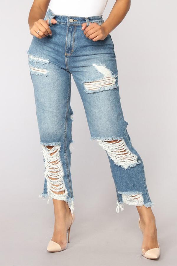Lovely Chic High Waist Broken Holes Light Blue Denim Zipped Jeans
