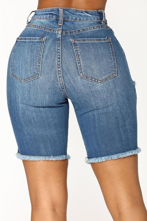 LovelyChic Hight Waist Broken Holes Baby Blue Denim Zipped Shorts