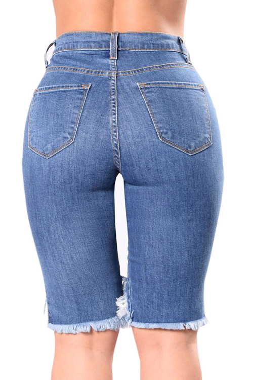 Lovely Trendy Broken Holes Blue Denim Shorts