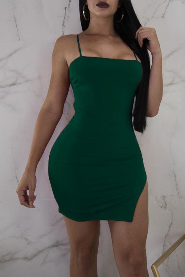 Lovely Sexy Spaghetti Strap Sleeveless Irregular Army Green Blending Sheath Mini Dress