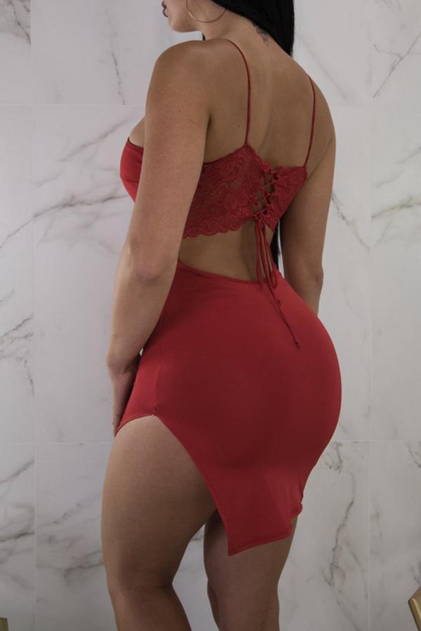 Lovely Sexy Spaghetti Strap Sleeveless Irregular Red Blending Sheath Mini Dress