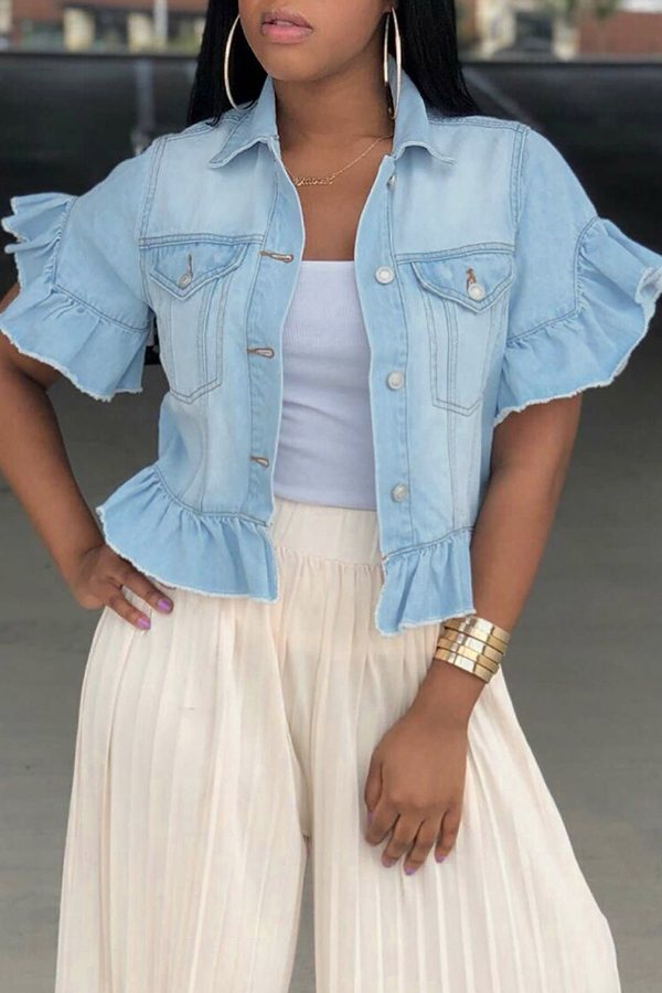 Lovely Trendy Turndown Collar Short Sleeves Single Breasted Baby Blue Denim Coat