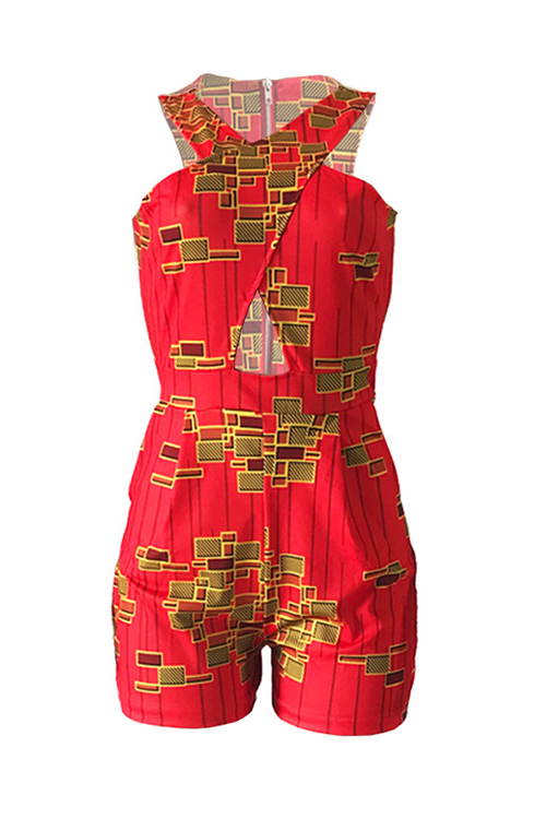 Lovely Fashion V Neck Printing Red Polyester One-piece Short Jumpsuits
